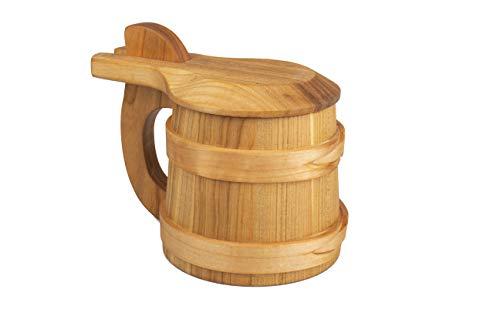 PLATAN ROOM Holz Krug aus Eiche Wikinger mit Deckel- Bierkrug aus Holz 0,5l – Bierhumpen...