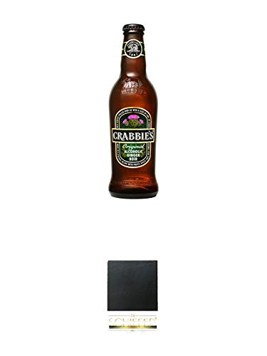 Crabbies original Ginger Bier 0,33 Ltr. + Schiefer Glasuntersetzer eckig ca. 9,5 cm Durchmesser