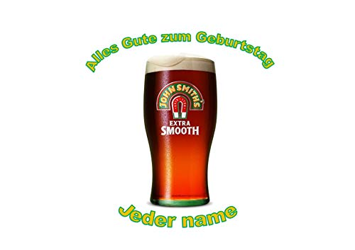 Halbes Liter John Smiths-Bier-personalisierter Name 8 Zoll runder Zuckerglasurdeckel Pint of John...