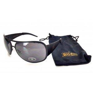 Bitburger Sonnenbrille Nerd Party Flieger Brille schwarz mit vollem UV Schutz inkl. Etui
