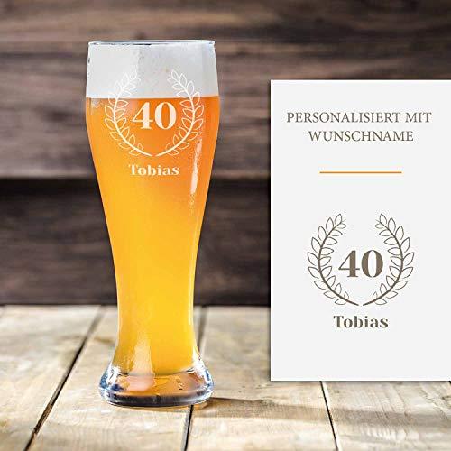 Weizenbierglas 40. Geburtstag mit Gravur | Geschenk-Idee | personalisiertes Bier-glas mit Name |...