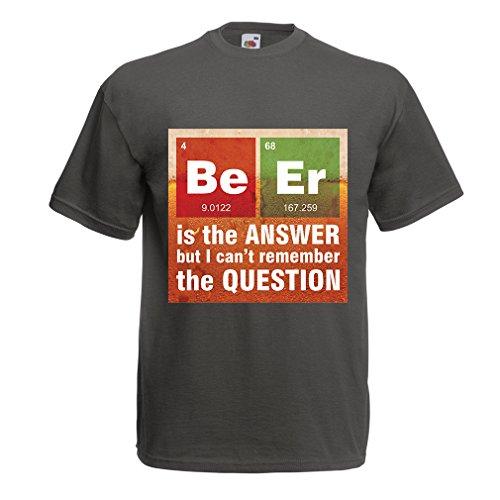 lepni.me Männer T-Shirt Das Bier ist die Antwort! Intelligenter Wissenschaftler, Chemie-Liebhaber...