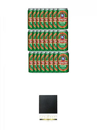 Tsingtao China Bier 24 x 0,33 Liter in Dose inklusive Dosenpfand + Schiefer Glasuntersetzer eckig...