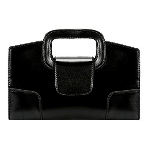 Buddy Damen Handtasche mit Tragegriff, Vintage-Optik, mit Klappe, Schwarz (schwarz), Einheitsgröße