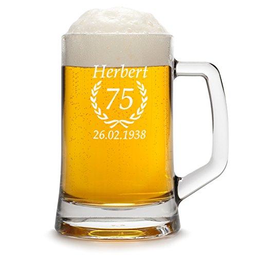 polar-effekt Bierkrug Personalisiert mit Gravur eines Namens, Jahreszahl und Geburtsdatum -...