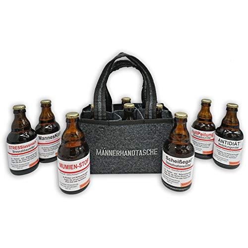 QUATSCHmanufaktur Männerhandtasche/gefüllt mit 6 Bierflaschen/witzige...
