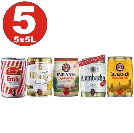 5x5 Liter Fässer Bier No:2- Krombacher, Paulaner Hefe, Münch. hell, Früh Kölsch, Bitburger...
