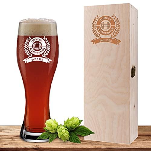 Weizenglas mit Wunschmotiv und Geschenkbox, Bierglas 0,5l, inkl. gravierter Holzbox, individuelles...