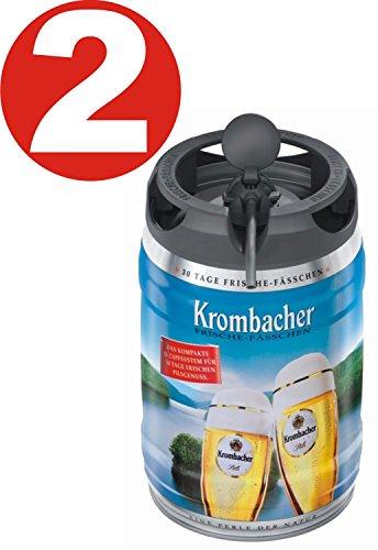 2 x Krombacher Pils Frische-Fässchen, 5 Liter 4,8% vol Partyfass