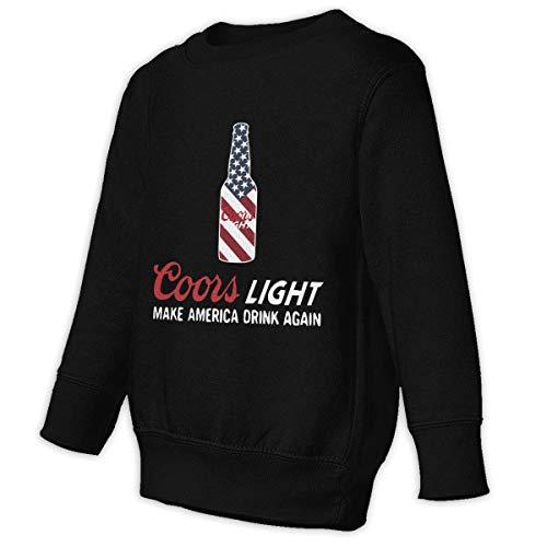 Cuteove Coors Light Make America Wieder Trinken Hoodie Boy Girl Kid O Hals Freizeit(5/6 t,schwarz)