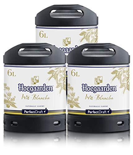 Bier PerfectDraft 3 x 6-Liter Fässer Hoegaarden Wit Bier - Weizenbier. Zapfanlage für Zuhause....