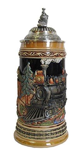 KING Eisenbahn Bierkrug, Kobalt, bunt, mit Zinn-Eisenbahndeckel, 0,5 Liter Bierseidel