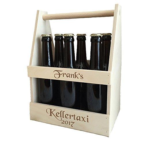 Bierträger mit kostenloser Gravur - individuelle Männerhandtasche aus Holz | passend für 6x 0,33...