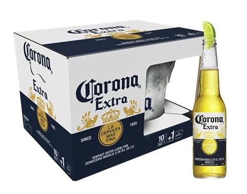Corona Extra 10er-Pack inkl. Eiseimer, Geschenkpack, Internationales Premium Lagerbier MEHRWEG Lager...