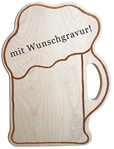 Personalisiertes Brotzeitbrett mit Gravur - Name oder Spruch - witzige Geschenkidee in Bierkrug Form...