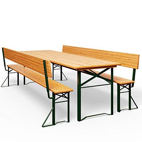 Deuba Bierzeltgarnitur mit Lehne Breiter Tisch 170x70cm Holzgarnitur Bierzelt Festzeltgarnitur...
