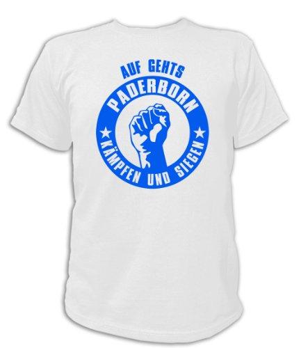 Artdiktat T-Shirt Auf geht´s Paderborn kämpfen und siegen Unisex, Größe M, weiß