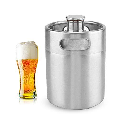 Mini Edelstahl Bierfass Growler Keg tragbares Bier Basteln Fass mit Spiraldeckel für Heimbrauen...