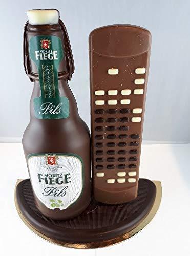 04#022621 Schokolade, Bierflasche Fiege mit Bügel und Fernbedienung in ORIGINAL Größe, mit...