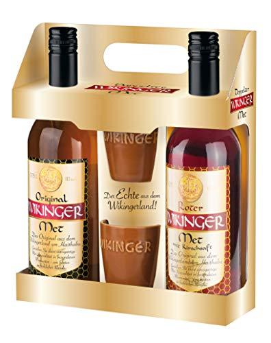 Original Wikinger Met + Roter Wikinger Met im Geschenkset | 2x0,75L inkl. 2 Becher | Honigwein aus...