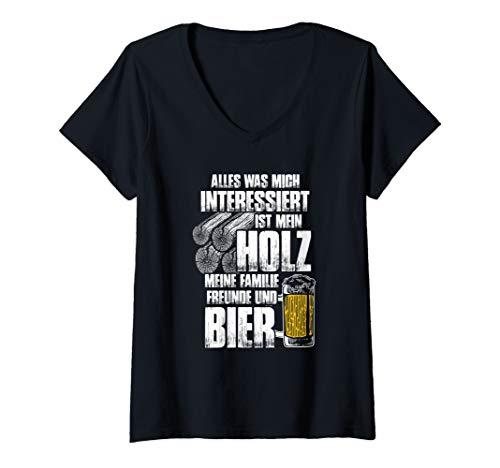 Damen Holz und Bier - Lustiges Holzfäller Forst Holz T-Shirt mit V-Ausschnitt