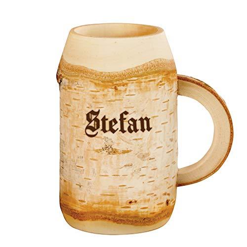 Geschenke 24 Holz Bierkrug mit Gravur 0,4l Geburtstagsgeschenke mit Name - personalisierte Bier...