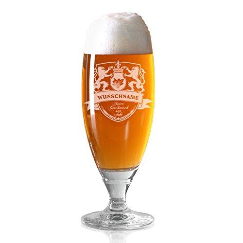 Herz & Heim® Pilsglas mit Bierwappen inkl. Gratis Gravur des eigenen Namens und Jahres zum Vatertag...