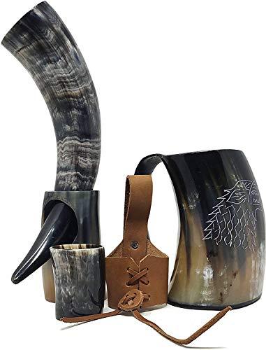 Viking Drinking Horn Cup Mug Set Kit | Mug for Beer, Wine Ale | medieval inspired food safe cup |...