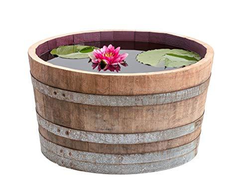 Temesso Holzfass, gebrauchtes Weinfass halbiert aus Eichen-Holz Fass als Pflanzkübel oder Miniteich...