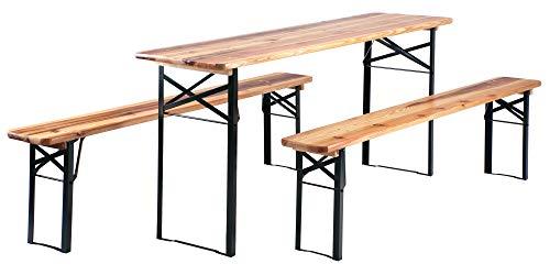 Stagecaptain Hirschgarten Bierzeltgarnitur 177 cm Länge (1x Tisch, 2 x Stühle, Holz, Klappbar)...