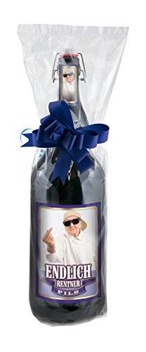 Endlich Rentner - 3 Liter XXL-Flasche Bier mit Bügelverschluss in Folie und Schleife verpackt als...