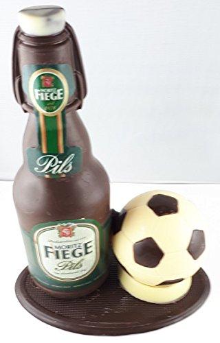 04#022621 Schokolade, Bierflasche mit Bügel, in ORIGINAL Größe, mit Fußball, Fiege Bier,...