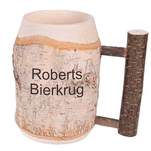 Holz-Bierkrug mit Gravur Namen und Astgriff 0,5l, Handgefertigtes Unikat Dekoration Personalisierter...