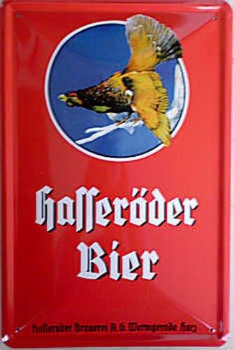 Hasseröder Bier Blechschild 20x30 cm Wernigerode rot hochkant Auerhahn