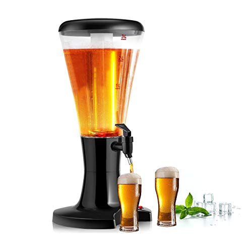 COSTWAY 3L Biersäule mit Eiskühlung, Biertower mit LED-Licht, Bierspender, Getränkespender mit...