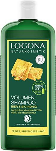 LOGONA Naturkosmetik Volumen Shampoo Bier & Bio-Honig, Verleiht feinem Haar traumhaftes Volumen,...