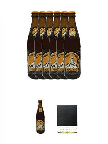 Odin Trunk Honigbier 7 x 0,5 Liter Deutschland + Schiefer Glasuntersetzer eckig ca. 9,5 cm...