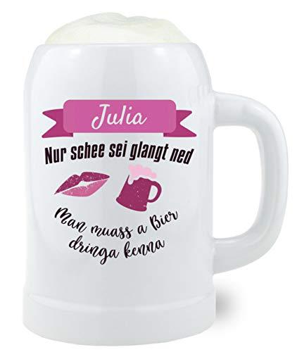 Steinkrug'Bierprinzessin' mit Wunschgravur, Bierkrug mit Wunschname für Frauen, 500 ml,...