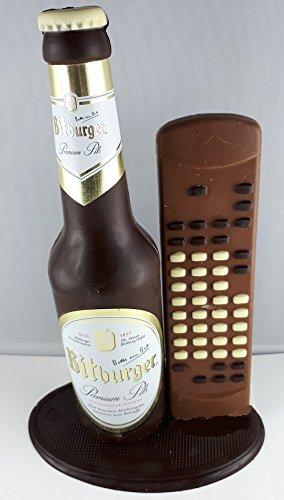 04#022621 Schokolade, Bierflasche, in ORIGINAL Größe, mit Fernbedienung, Bitburger Bier,...