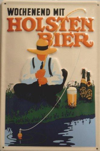Blechschild Nostalgieschild Holsten Bier Wochenend Hamburg Angler Schild Bierwerbung