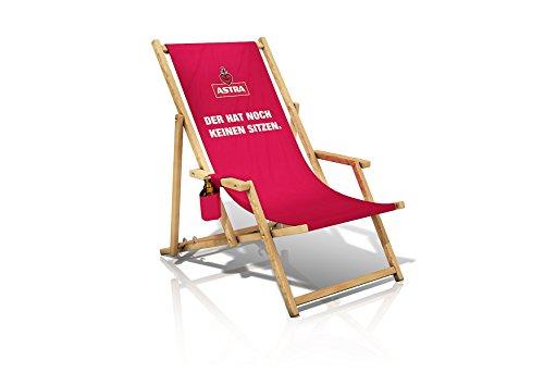 ASTRA Liegestuhl mit Armlehnen & Flaschenhalterung, Gartenstuhl, klappbare Sonnenliege, Bier für...