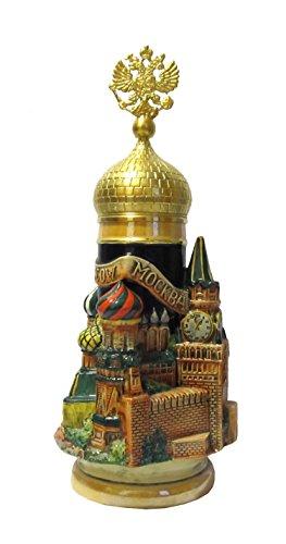 KING Bierkrug Moskau 3-D Seidel, Goldadlerhenkel 0,75 Liter Bierseidel