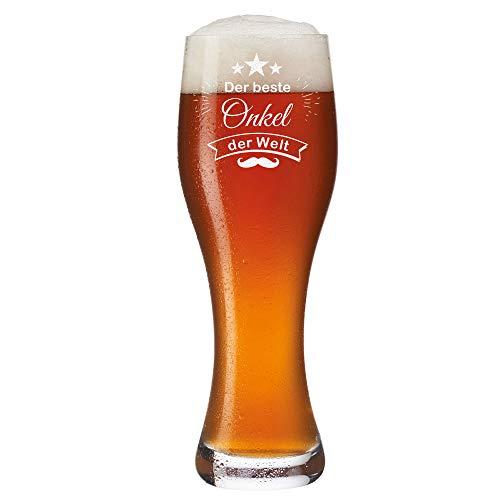 Leonardo Weizenbierglas 0,5l mit Gravur personalisiert - Der Beste Onkel der Welt - Weizenglas...