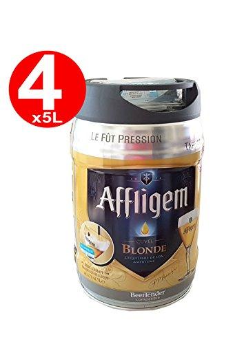 4 x Affligem blonde Partyfass 5 Liter Fass inkl. Zapfhahn 6,8% vol.