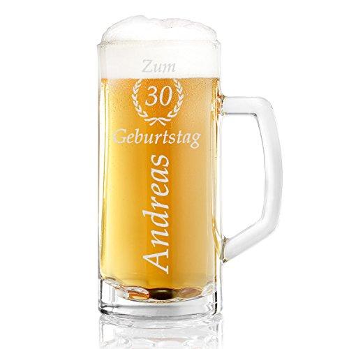 polar-effekt Bierkrug Personalisiert mit Gravur eines Namens und Jahreszahl im Ährenkranz –...