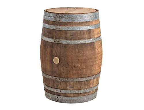Temesso Regentonne mit Deckel, Regenfass Holzfass, Weinfass, Tonne, Eiche 225 Liter Wasserfass -...