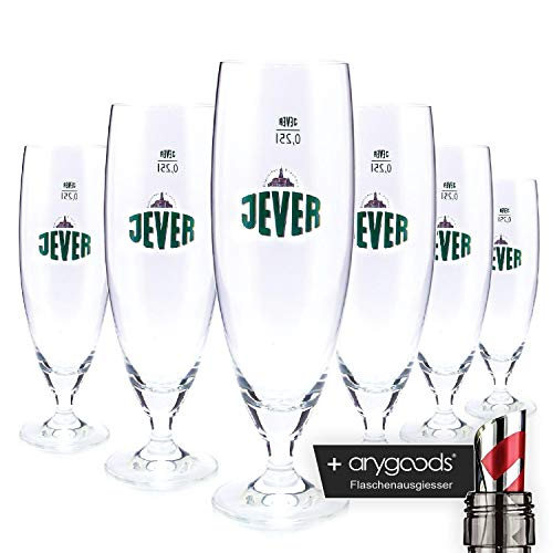 6 x Jever 0.25 L Glass/Glasses, Cup Glass, Branded Glass, Beer Glass + Anygoods Bottle Pourer