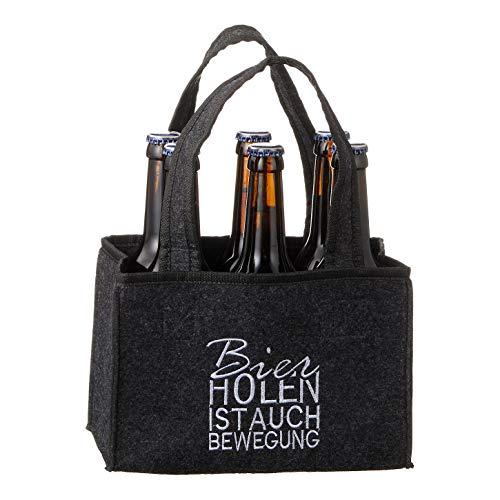 Spetebo Filz Flaschenträger für 6 Flaschen - Bier Holen ist auch Bewegung - Männer Handtasche...