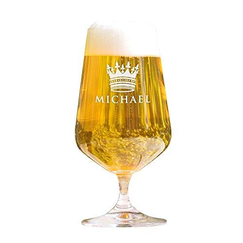AMAVEL Bierglas mit Gravur, Krone, Personalisiert mit Namen, Gravierte Pilstulpe – Pilsglas für...