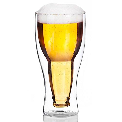 Doppelwandiges Bierglas Inside Out Umgestülpte Bierflasche im Glas (1 Glas)
